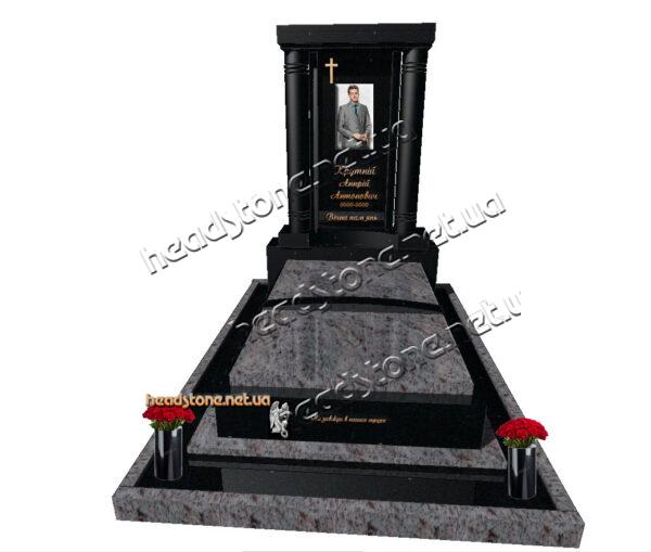елітні пам'ятники з граніту,Виготовлення гранітних пам'ятників,подвійний пам'ятник надмогильний комбінований,надгробний пам'ятник з граніту,пам'ятник одинарний