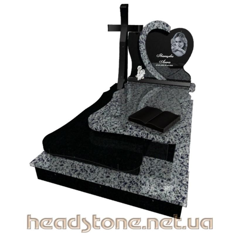 Замовити одинарний гранітний памятник в італійському стилі,зроблена 3Dмодель памятника в Лезніковському і Букинському граніті,памятник надгробник оздоблений італійською фурнітурою