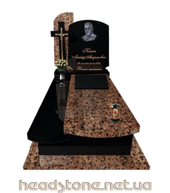 Замовити пам'ятник надгробний гранітний класу люкс для жінки по доступній ціні з Декоративний елемент для памятника з граніту і 3D проектування памятника надгробного