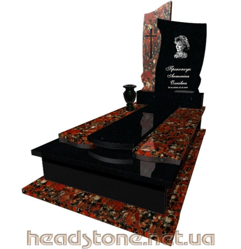 Виготовлення пам'ятника з граніту Елітний одинарний з Токівського граніту з Бронзові елементи на памятник надмогильний і 3D проектування памятника надгробного