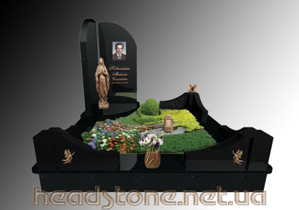 Замовити пам'ятник з граніту Ексклюзивний на одного з Бронзове оздоблення надгробного пам'ятника і 3Dмоделі пам'ятника надмогиьного