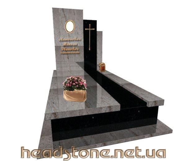 Купити пам'ятник одинарний з граніту VIP класу для чоловіка по індивідуальному проекту 3Dмоделі пам'ятника з Бронзовий аксесуар для памятника надгробного