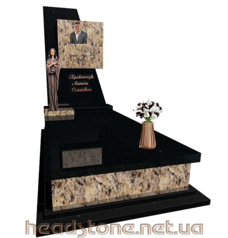 Купити пам'ятник надмогильний з граніту Елітний одинарний з ангелом з Латунний декор для пам'ятника надгробного і 3D проектування памятника надгробного