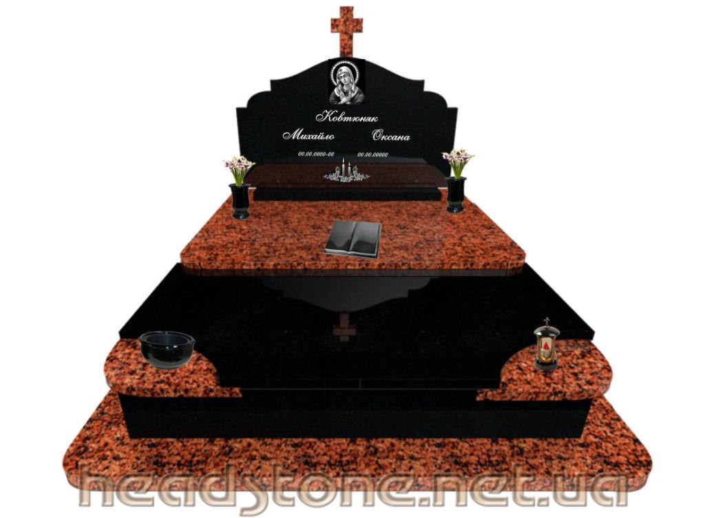 пам'ятник надмогильний подвійний з ритуальною скульптурою Ангела і 3д пам'ятник з Підсвічник на памятник гранітний Lorenzi