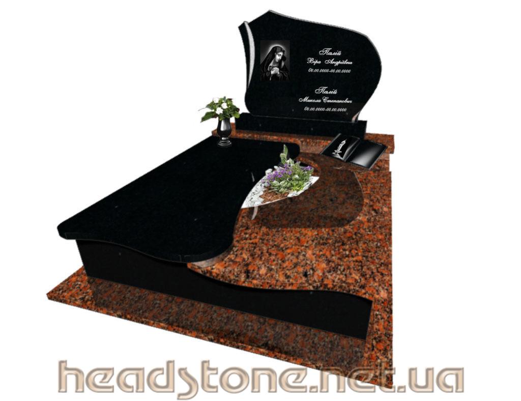 пам'ятник гранітний подвійний з Лезніковського граніту з Лампадка латунна на пам'ятник надгробний і 3d проект пам'ятник гранітного