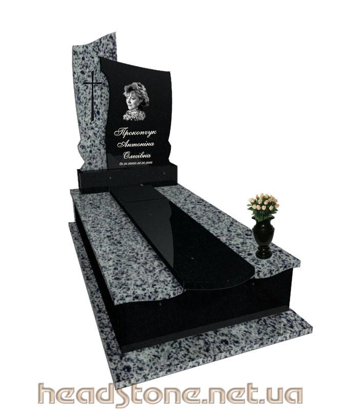 Виготовлення пам'ятника надгробного з граніту Елітний Одинарний з Латунний декор для пам'ятника гранітного і 3D проектування памятника надгробного