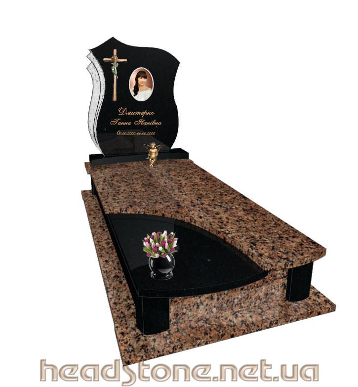 Пам'ятник гранітний виготовлення Елітний Для дитини ,3d проект пам'ятника з граніту, Бронзові квіти на пам'ятник надгробний, Скульптури на могилу