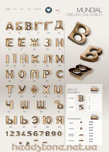 Бронзові букви Caggiati на памятник