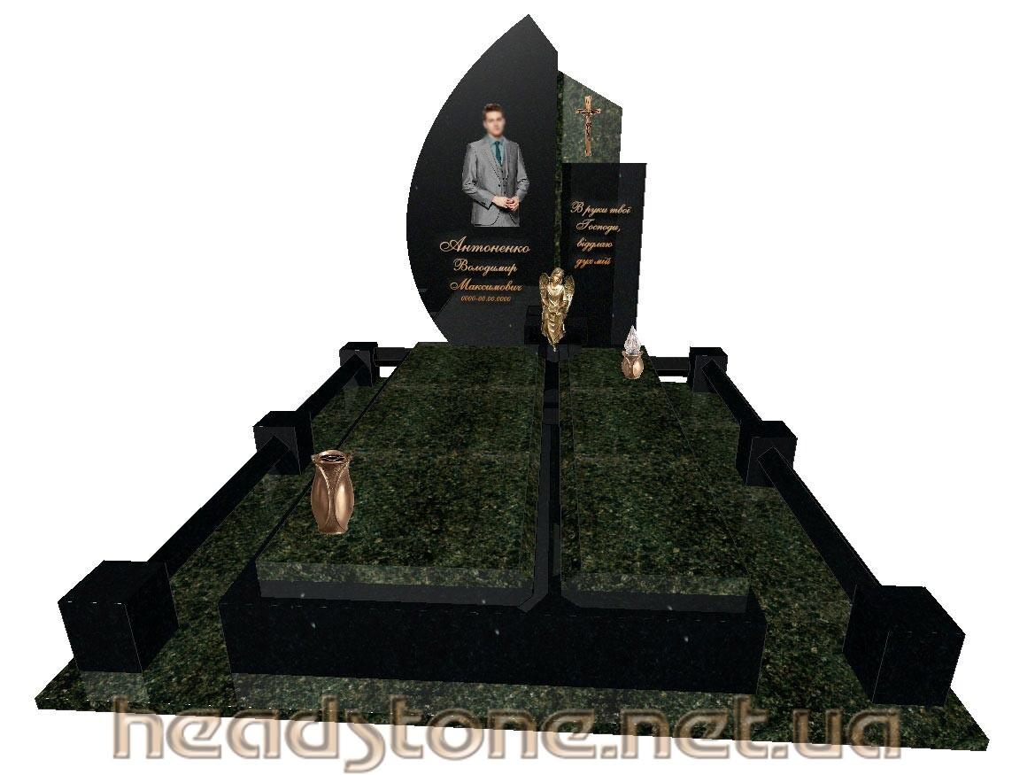 Замовити пам'ятник надмогильний одинарний Елітний 3D проектування памятника Бронзові аксесуари для пам'ятника Хрест бронзовий на памятник гранітний