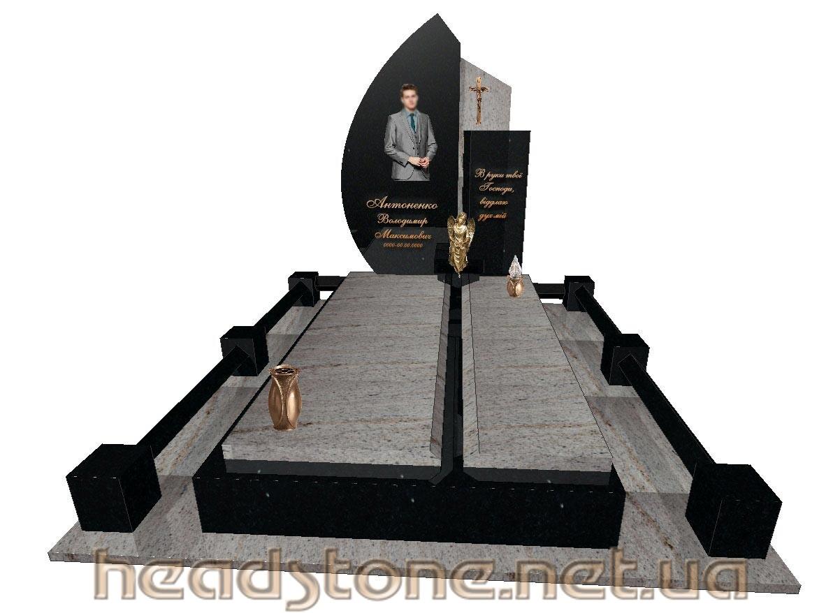 Замовити пам'ятник надгробний гранітний одинарний Елітний 3D проектування памятника Бронзові аксесуари для пам'ятника Накладні букви на памятник
