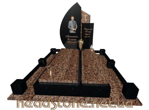 Замовити памятник з граніту одинарний Елітний 3D проектування памятника Бронзові аксесуари для пам'ятника Бронзові квіти і Золоті букви на памятник