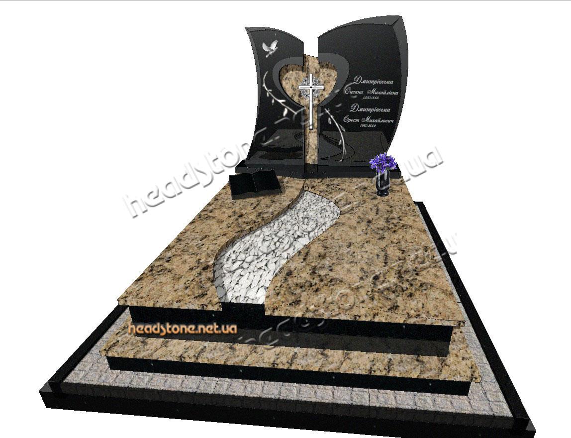 Виготовлення гранітних подвійних пам'ятників,подвійний пам'ятник з габро,подвійний пам'ятник на двох з граніту,памятник з граніту подвійний,пам'ятники гранітні
