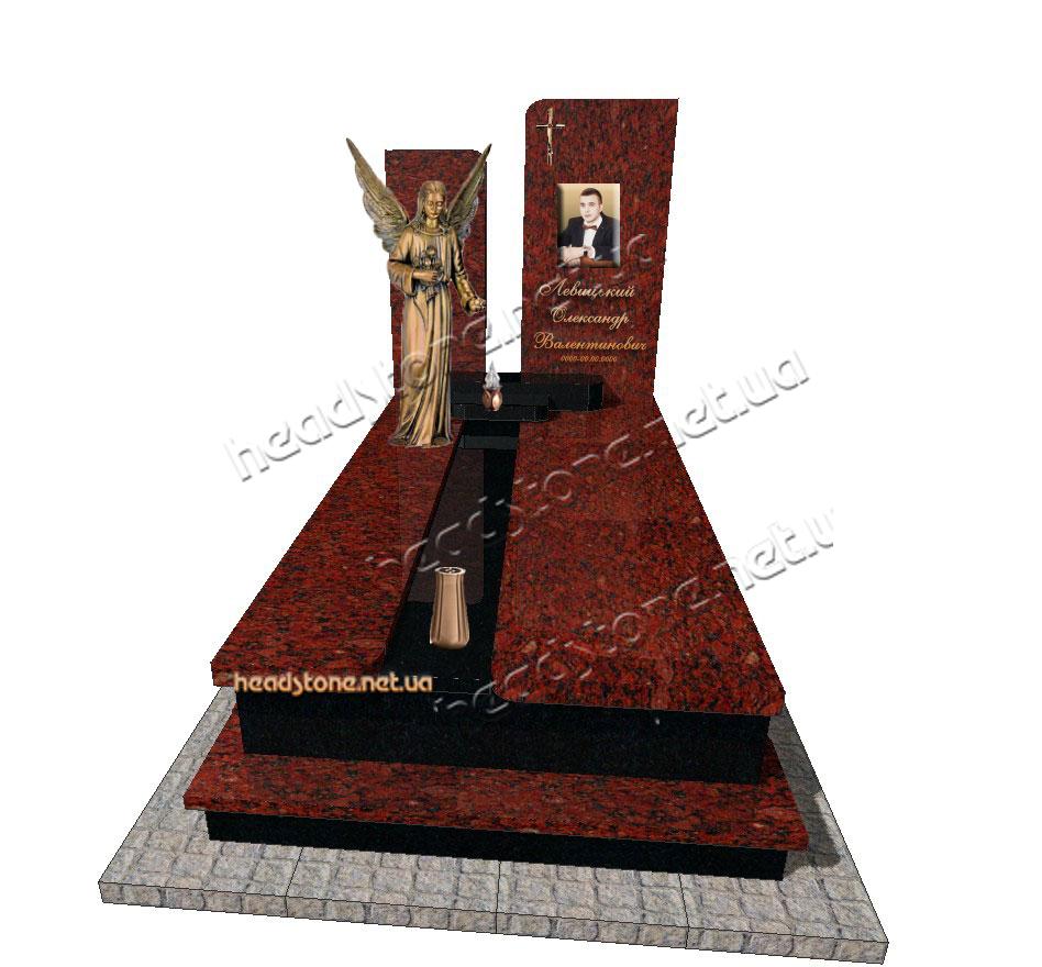 пам'ятник надгробний гранітний одинарний Елітний латунний декор Lorenzi для пам'ятника Ваза на памятник бронзова Caggiati Букви на памятник накладні Caggiati