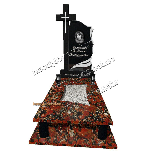Купити від виробника пам'ятник надгробний з червного граніту Бронзова фурнітура для пам'ятника 3Dмодель пам'ятника Бронзові квіти на памятник Золоті букви на памятник