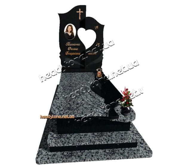Де купити елітний пам'ятник з гранітну на могилу,богослужіння,католицька церква, Хрест на могилу,гранітні памятники від виробника Накладні букви на памятник
