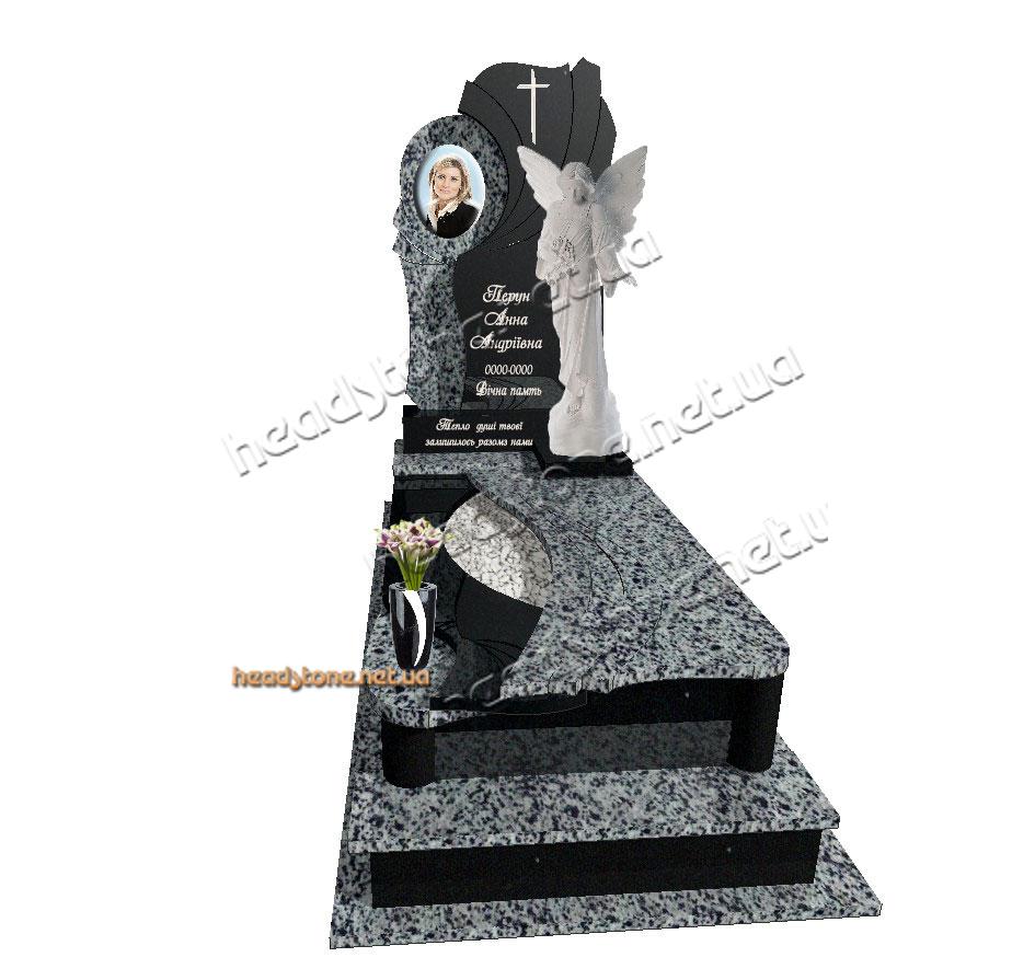 Де купити елітний пам'ятник гранітний для молодої дівчини з скульптурою ангела на могилу,богослужіння,католицька церква, гранітні памятники від виробника