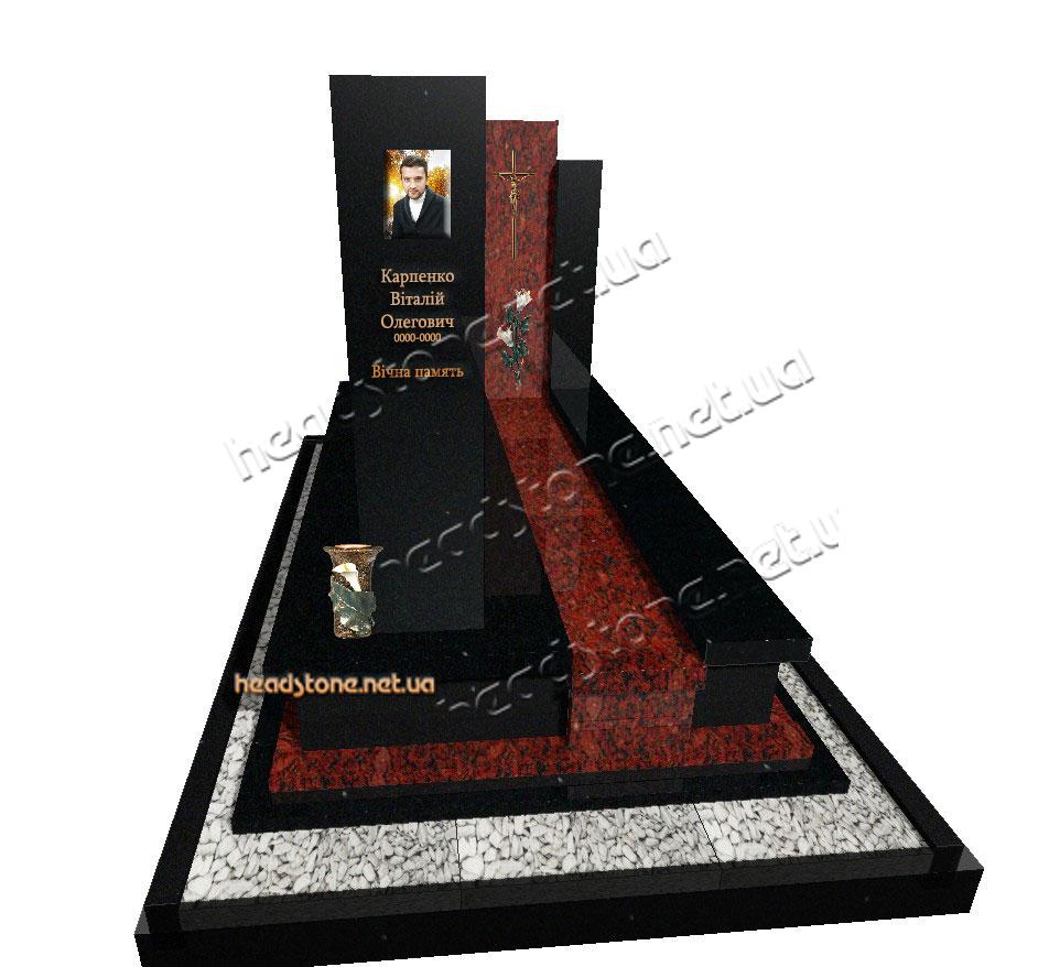 Замовити пам'ятник надгробний гранітний подвійний Елітний 3D проектування памятника Бронзові аксесуари для памятника Накладні букви на памятник хрест бронзовий
